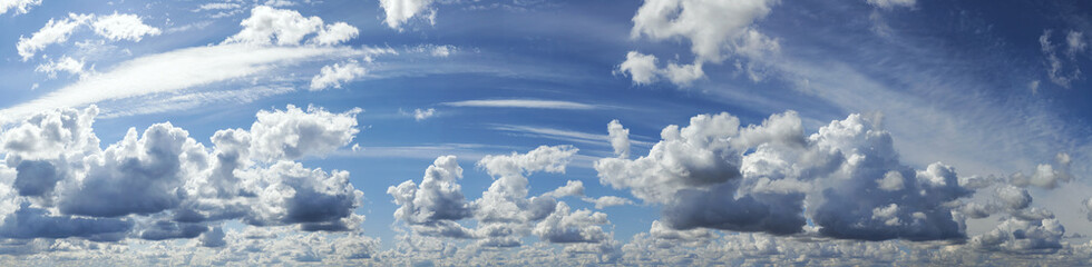 Blue sky with cloud, panoramic sky background.