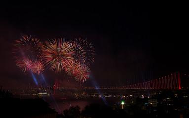 fireworks over bridge in Istanbul, Turkey