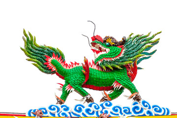 Colorful Chinese dragon-headed unicorn