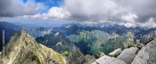 canvas print picture View from the highest peak of Poland - Rysy, Tatra