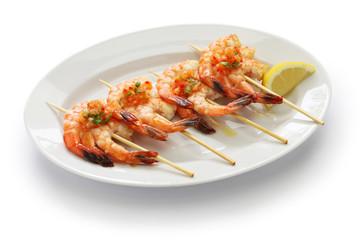 brochetas de gambas,  spanish grilled shrimp skewers