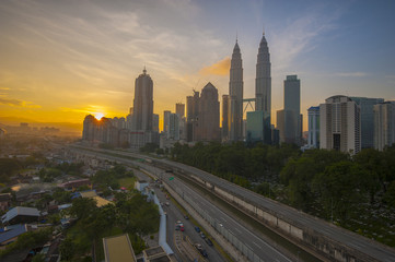 Sunrise over Kuala Lumpur city centre in the morning.