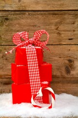 Weihnachtskarte - rote Geschenke
