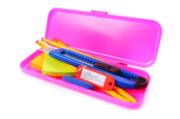 Case and school tools. On a white background.