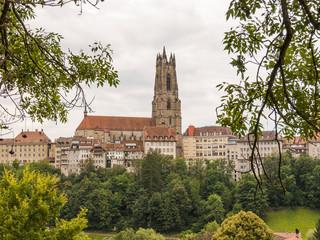 Fribourg, historische Altstadt, Kathedrale, Sommer, Schweiz
