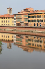 Arno River Embankment. Pisa, Italy