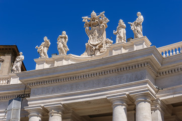 Statues on the roof of St. Peter Cathedral in Vatican