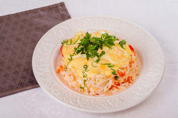Crab salad with sweet pepper