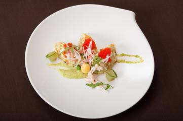 Crab salad with caviar