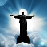 jesus christ  statue with  sky clouds background
