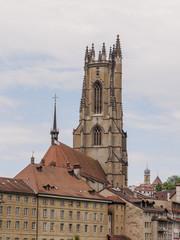 Fribourg, Freiburg, Altstadt, Kathedrale, Sommer, Schweiz