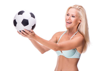 Happy woman with soccer ball, isolated