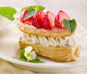 cream puff with strawberries