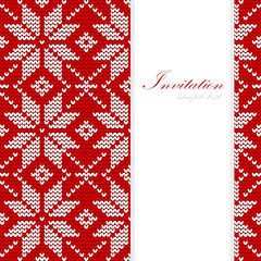 Christmas card, nordic knitted pattern, vector background