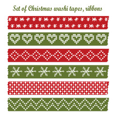 Set of vintage christmas washi tapes, ribbons, vector