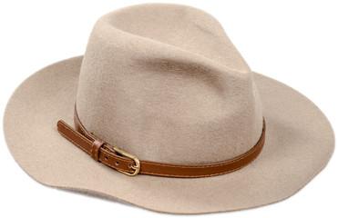 Men's felt hat on white background