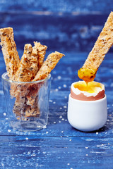 Dipped toast in creamy boiled egg