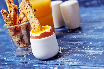 Toast soldiers dipped in boiled egg