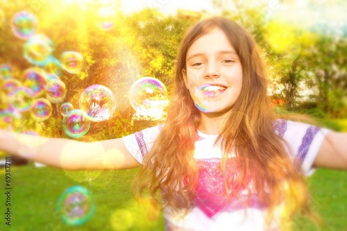 canvas print picture Littlte girl have fun