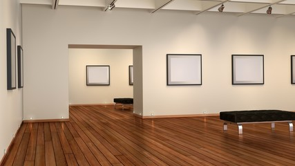 Bildergalerie mit Holzfußboden,leere Bilderrahmen