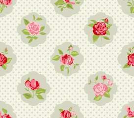 Shabby Chic Rose Pattern and seamless background.