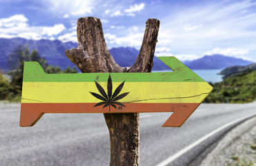 Rasta Flag With Marijuana Leaf wooden sign