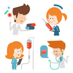 Docter and nurse flat character design