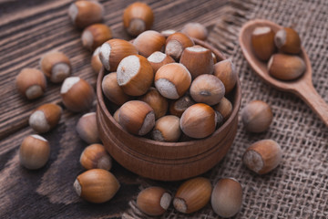 hazelnut on a wooden table