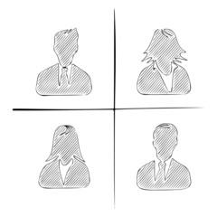 Hand drawn avatar silhouettes
