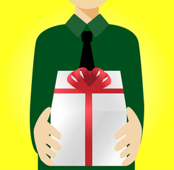 A man holding a gift box, vector illustration