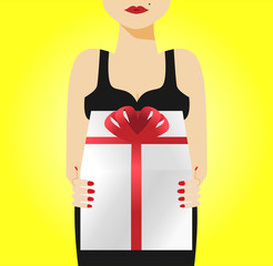 A woman holding a gift box, vector illustration
