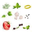 dill, parsley, tomato, mushrooms, olives, basil, black pepper.