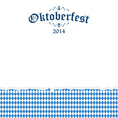 Ripped paper Oktoberfest background with text Oktoberfest 2014
