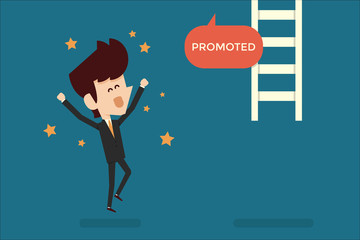 Successful businessman promoted flat design