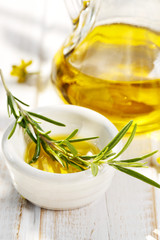 Fresh rosemary with olive oil