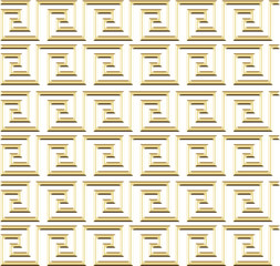 repeating maze like design gold on white