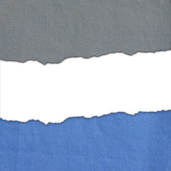 Blue and gray fabric stripes with white text space