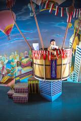 Child on hot air balloon in Baiyoke sky hotel. Bangkok