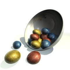 schaaltje met eitjes omgevallen