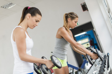 Young women training in the gym