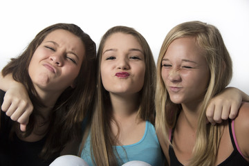 Young Pretty Teenagers making funny faces