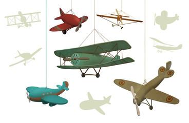 Набор из пяти игрушечных самолетиков