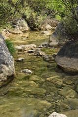 Paisaje de un río con aguas transparentes