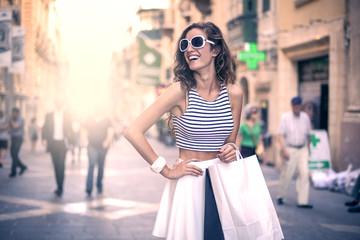 beautiful woman having fun doing shopping