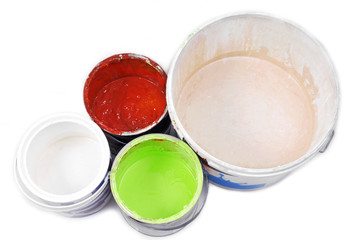 paint cans isolated on white