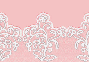 Seamless lace border with flowers. White lace on a pink