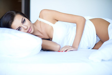 Attractive young woman suffering from insomnia