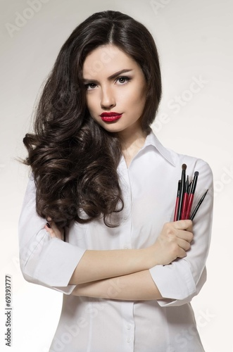 canvas print picture Beauty salon makeup artist with brushes