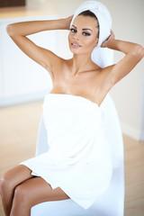 Woman Wearing White Bath Towel Drying Hair