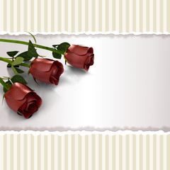 greeting card with roses in retro style